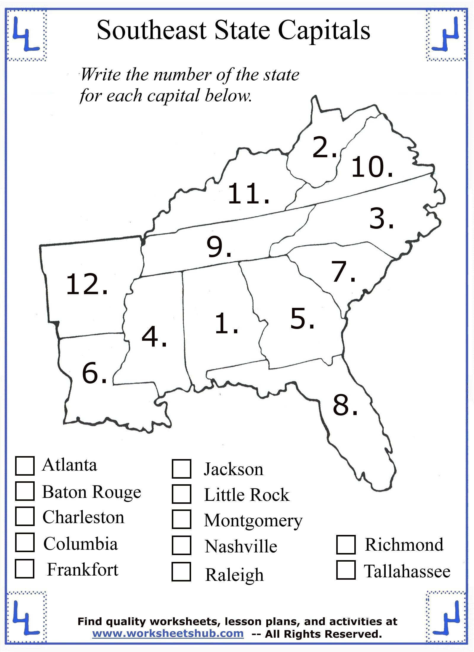 Social Studies Worksheet 1st Grade 4th Grade social Stu S southeast Region States