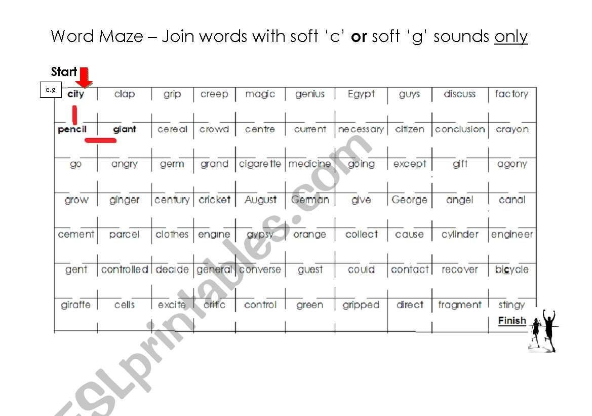 Soft C and G Worksheets soft C and G Word Maze and Answer Key Esl Worksheet by Puddyd
