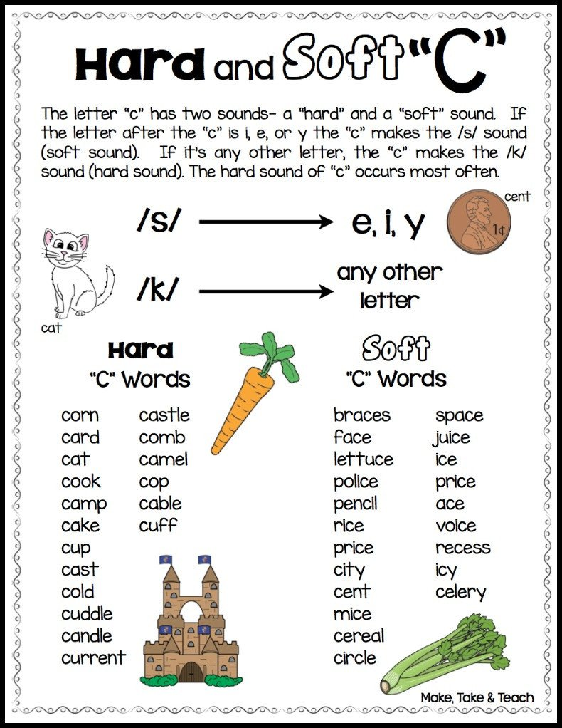 "Soft C and G Worksheets Teaching the Hard and soft ""c"" and ""g"" Make Take & Teach"