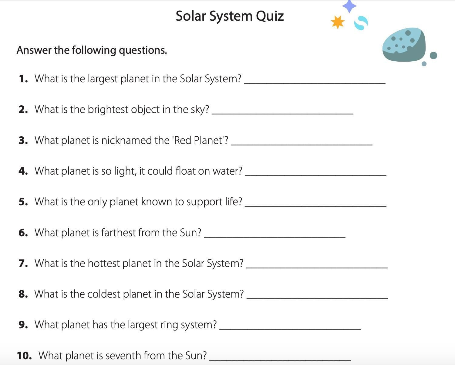 Solar System Worksheets 5th Grade Pin On Activities