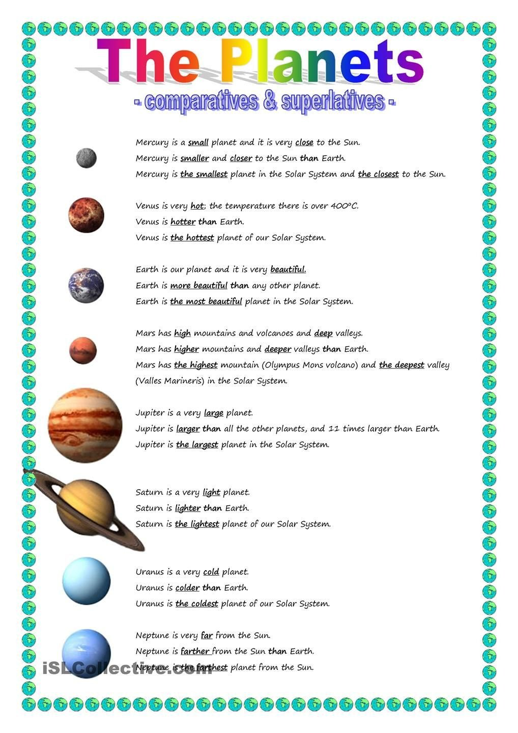 Solar System Worksheets 5th Grade the Planets Parative & Superlative