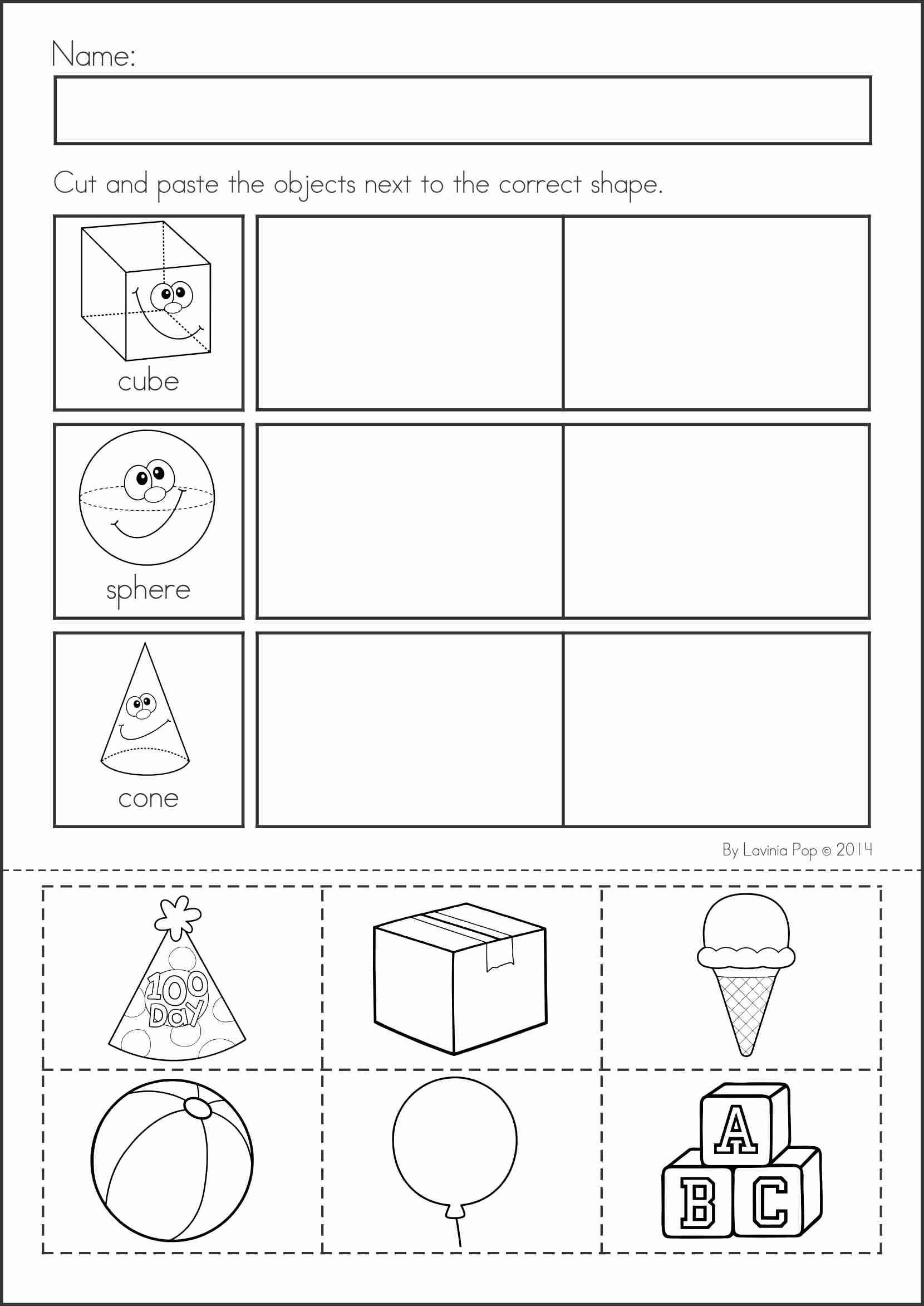 Sorting Shapes Worksheets for Kindergarten Summer Review Kindergarten Math & Literacy Worksheets