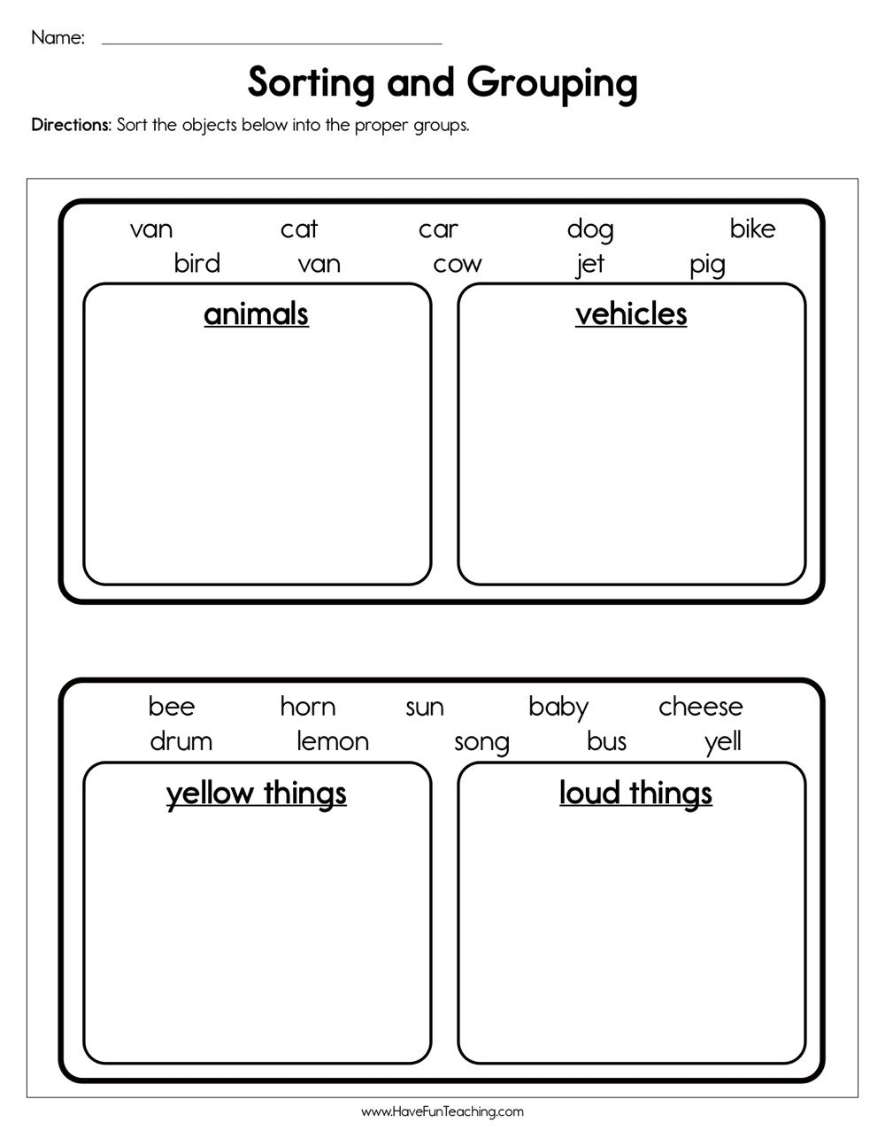 Sorting Worksheets for Kindergarten sorting and Grouping Worksheet