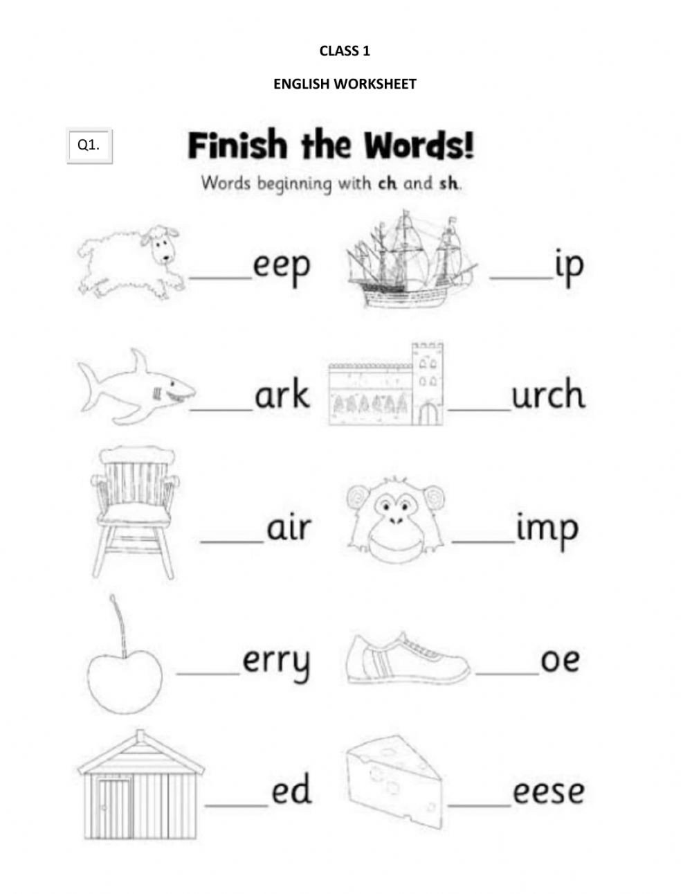Sounding Out Words Worksheets Ch Sh sound Words Interactive Worksheet