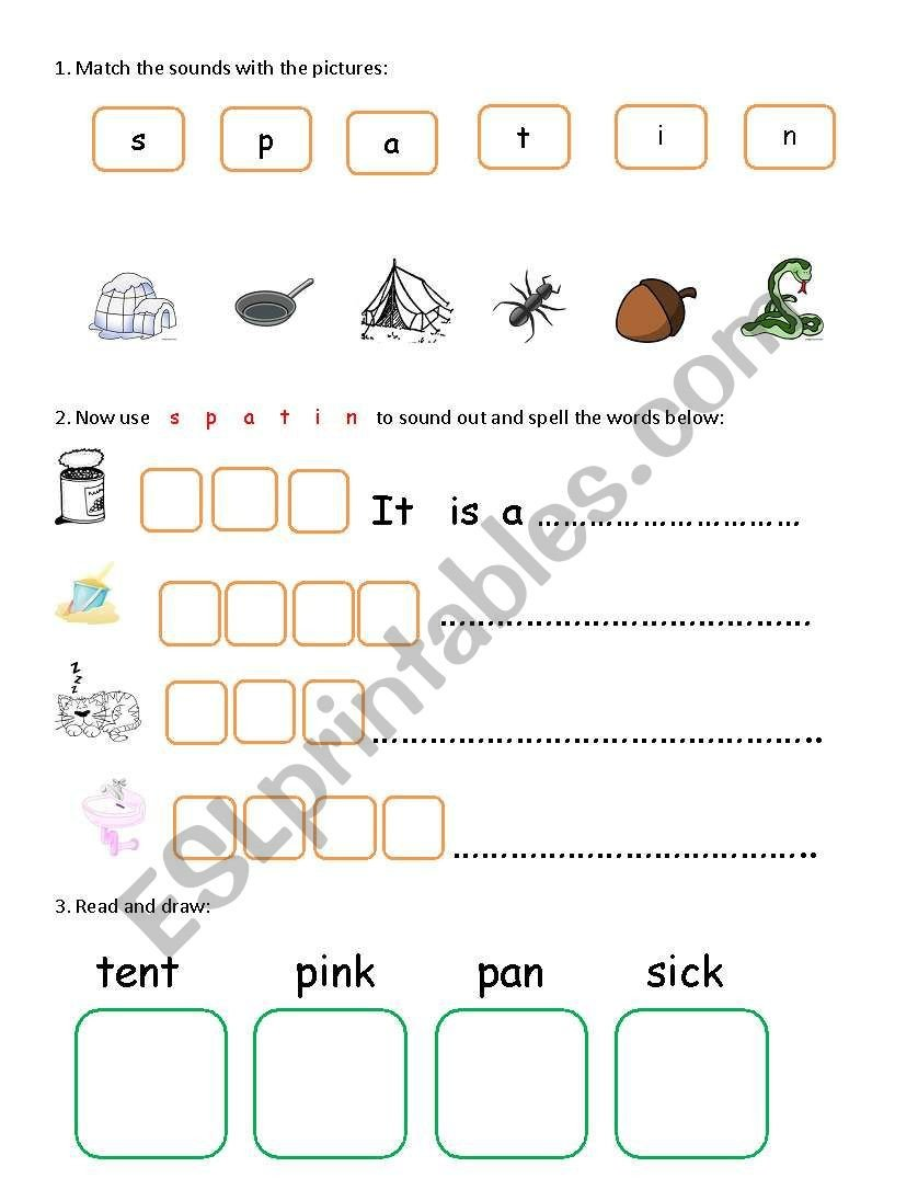 Sounding Out Words Worksheets English Worksheets Phonics S P A T I N