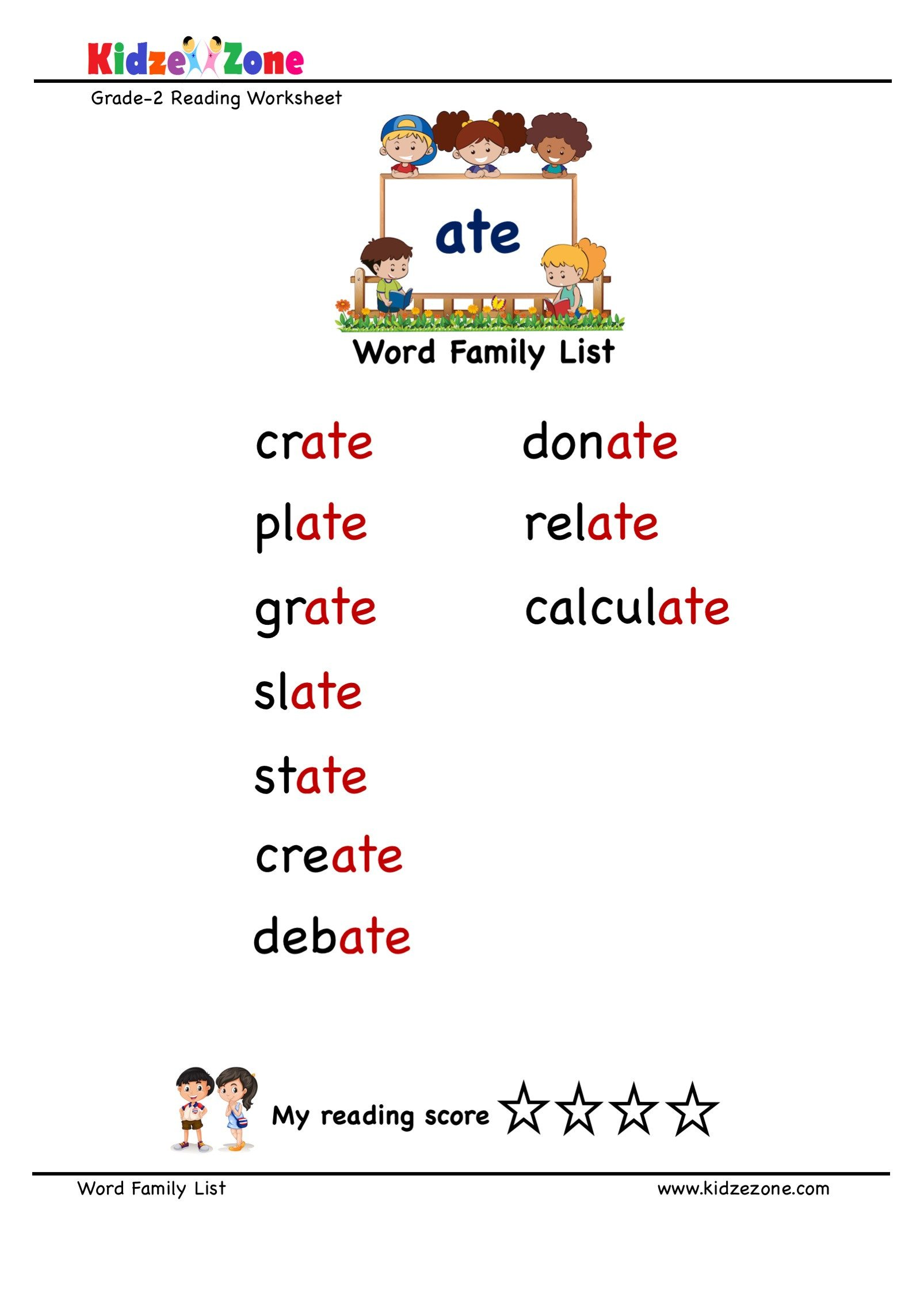 "Sounding Out Words Worksheets Explore and Learn Words From ""ate"" Word Family with Word"
