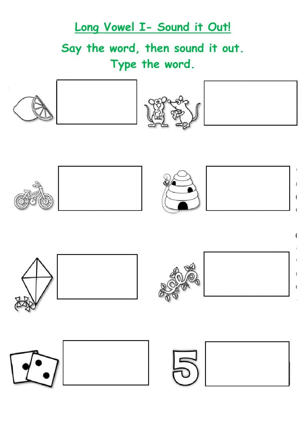 Sounding Out Words Worksheets Long I Words Interactive Worksheet