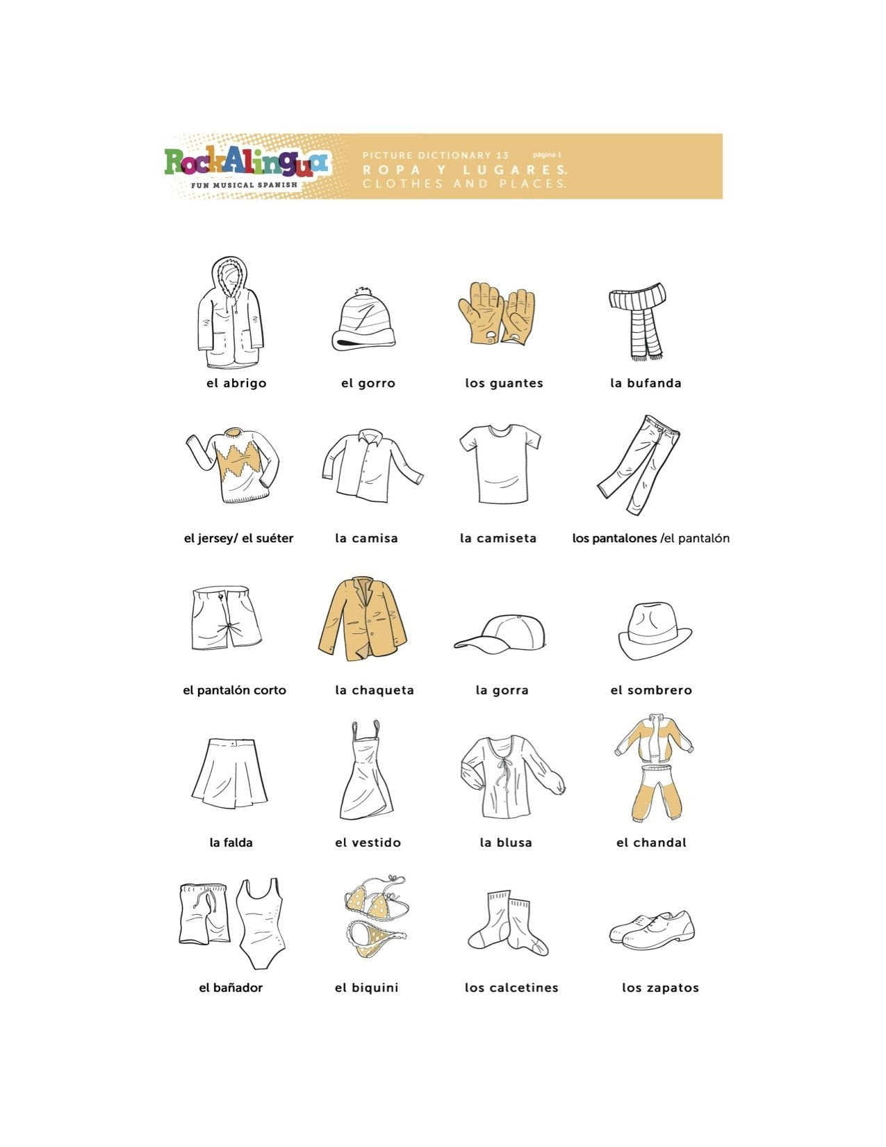 Spanish Phonics Worksheets Spanish Worksheet About Clothes Places and Weather More