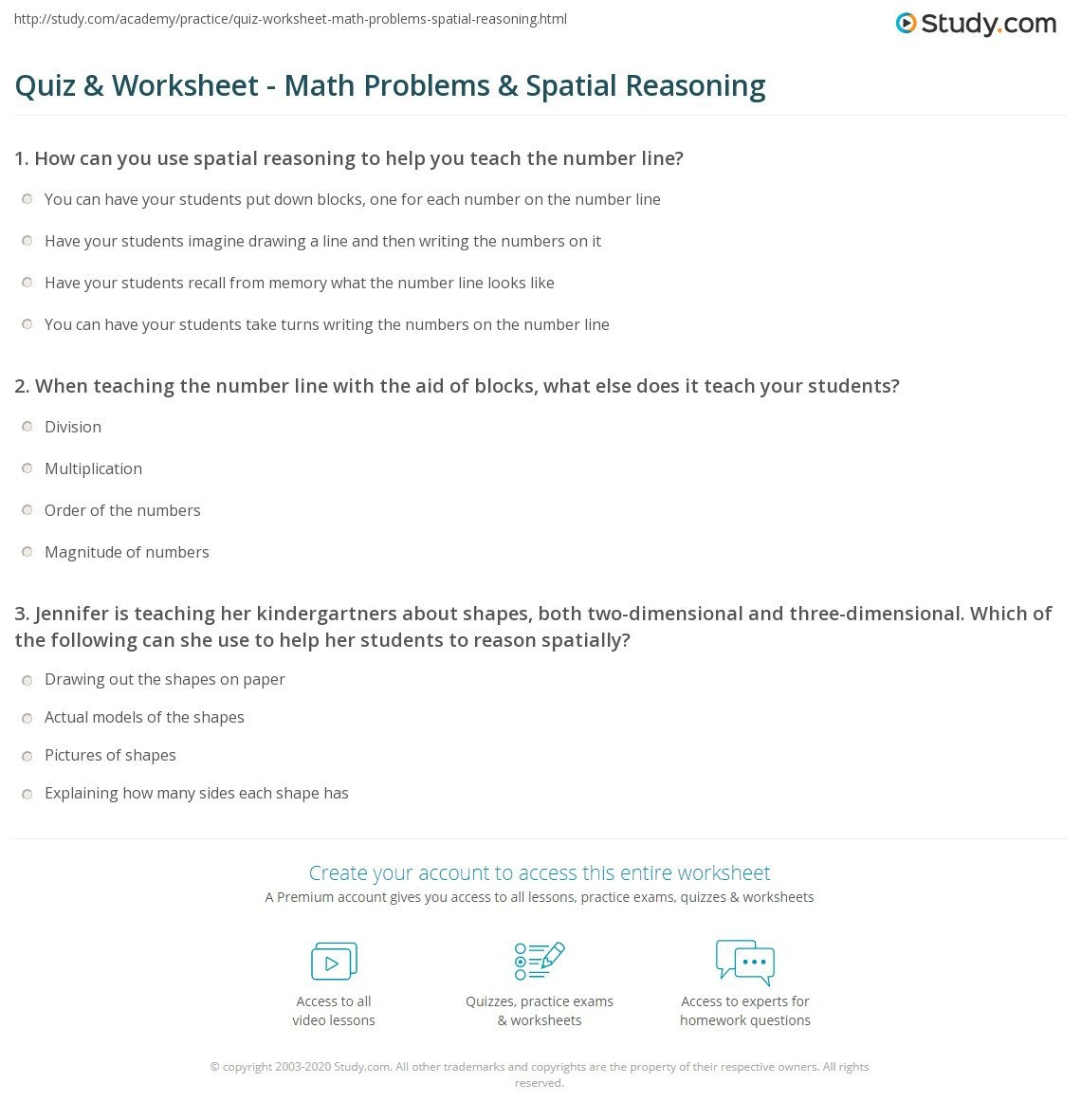 Spatial Reasoning Worksheets Quiz & Worksheet Math Problems & Spatial Reasoning