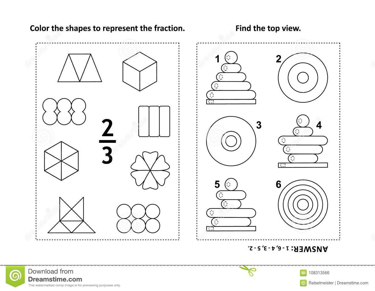 two visual math puzzles coloring pages color shapes to represent fraction find top view black white answers included