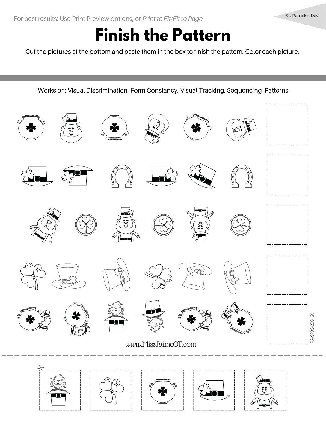 Spatial Relations Worksheets Functional Visual Perception Digital Workbook