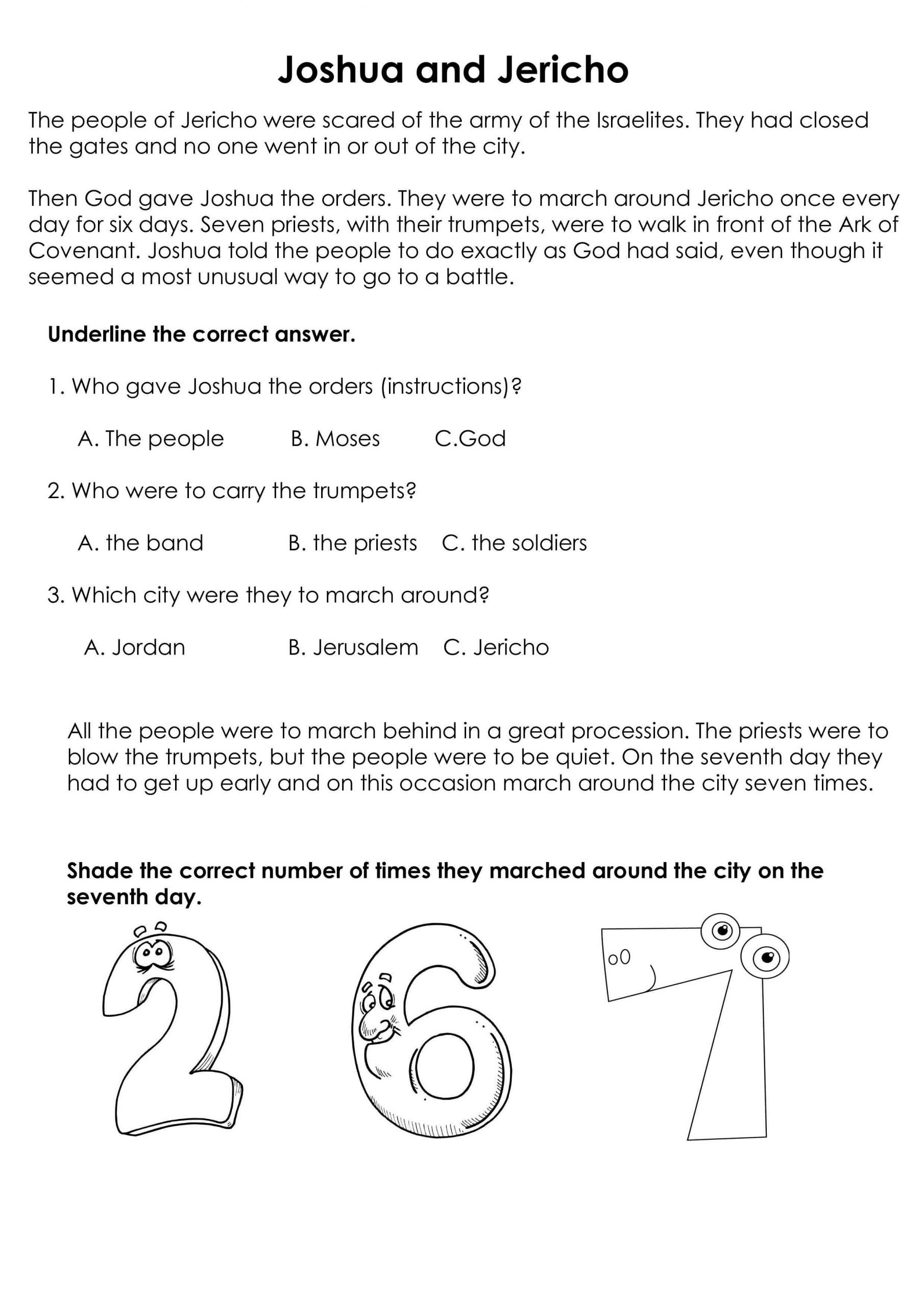 worksheet joshua and jericho kids church worksheets for
