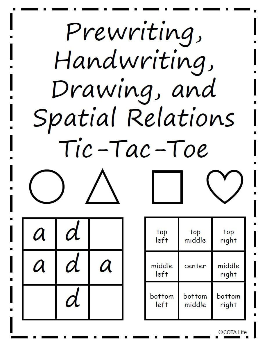 Spatial Relations Worksheets Tic Tac toe Spatial Relations Game
