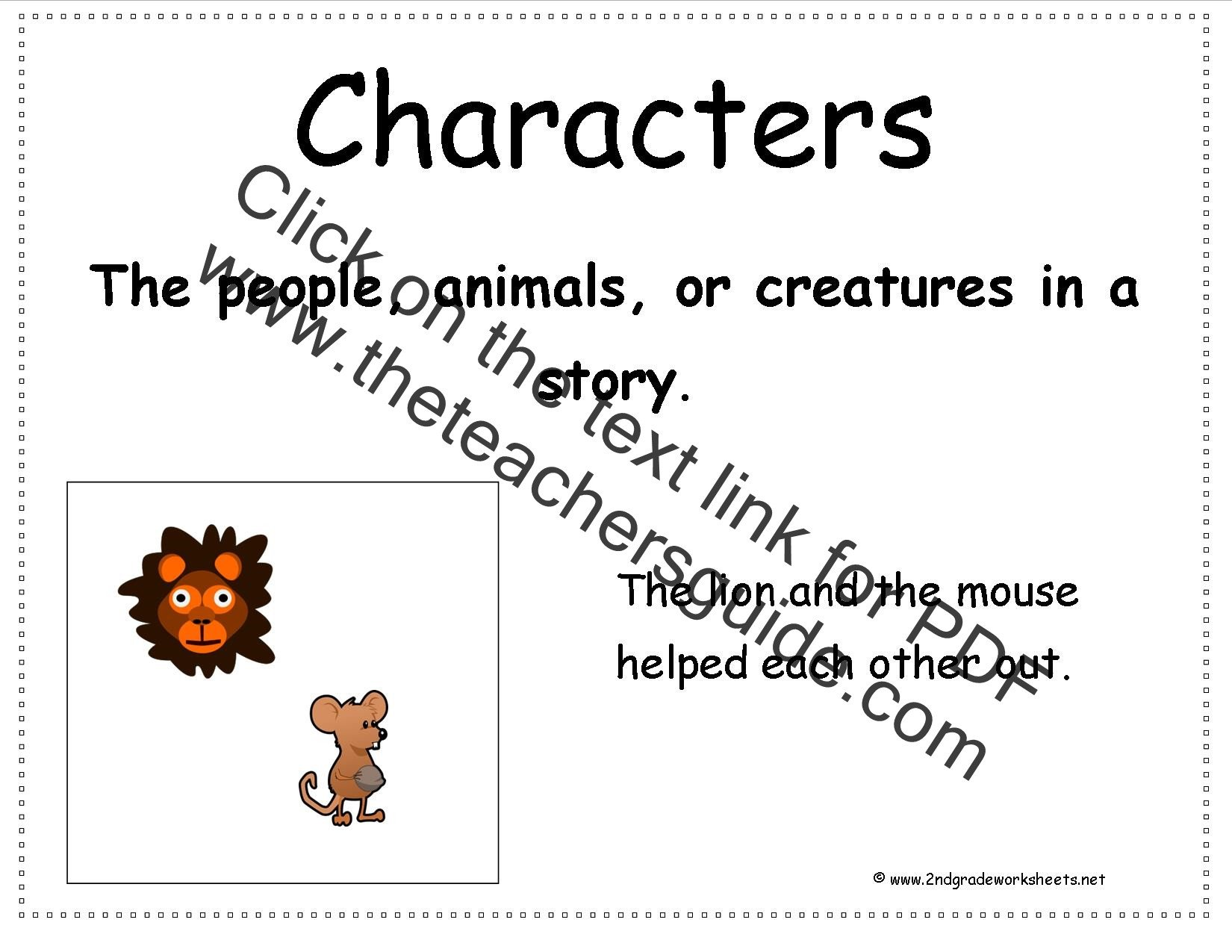 Story Elements Worksheets 2nd Grade Characters In A Story Worksheets