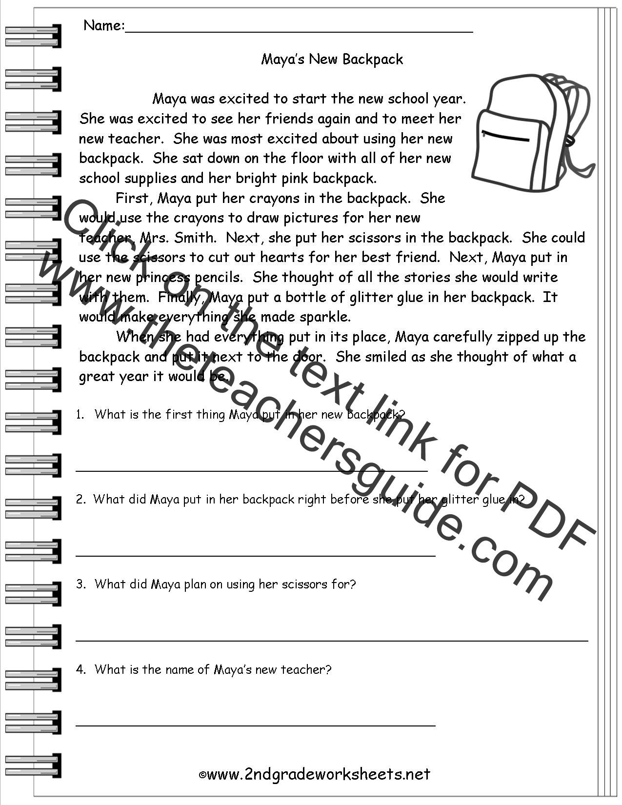 Story Elements Worksheets 2nd Grade Reading Worksheeets