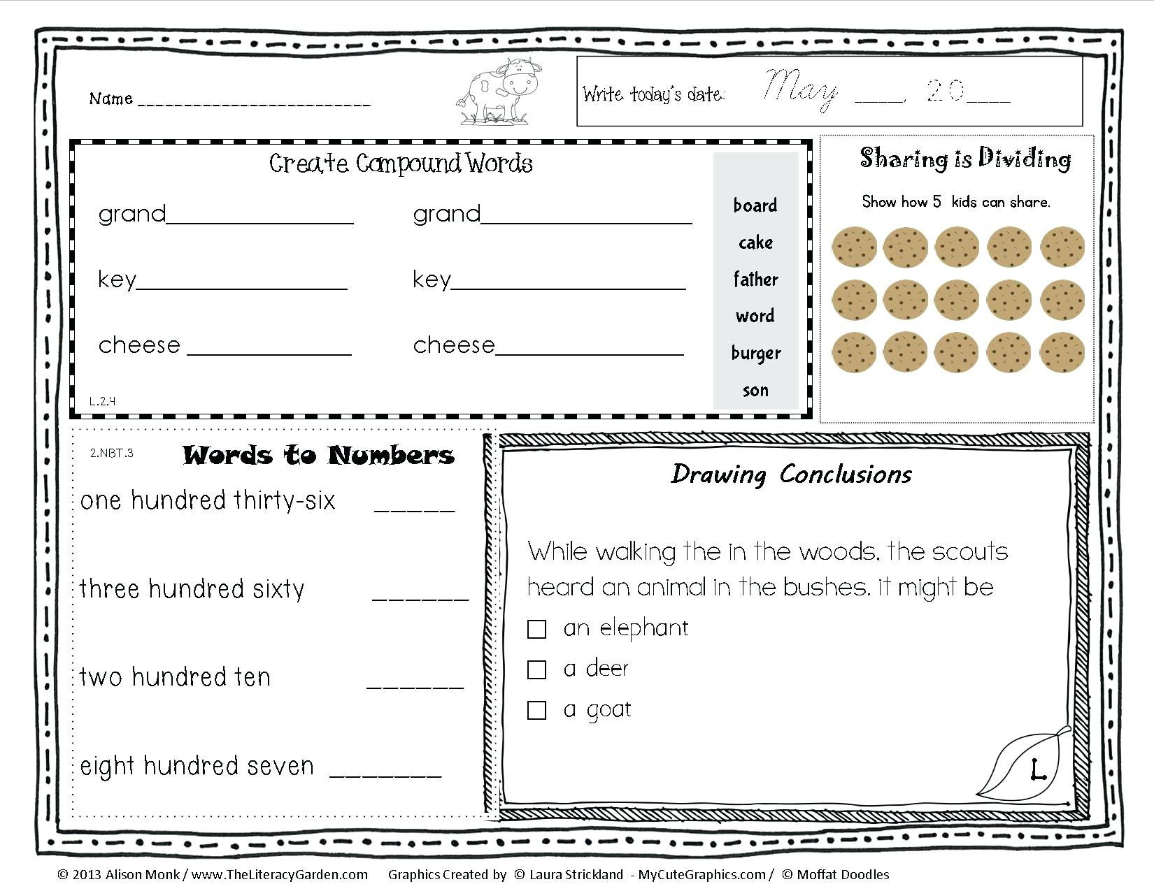 Story Elements Worksheets 2nd Grade Second Grade Morning Work Ideas Daily Worksheets for