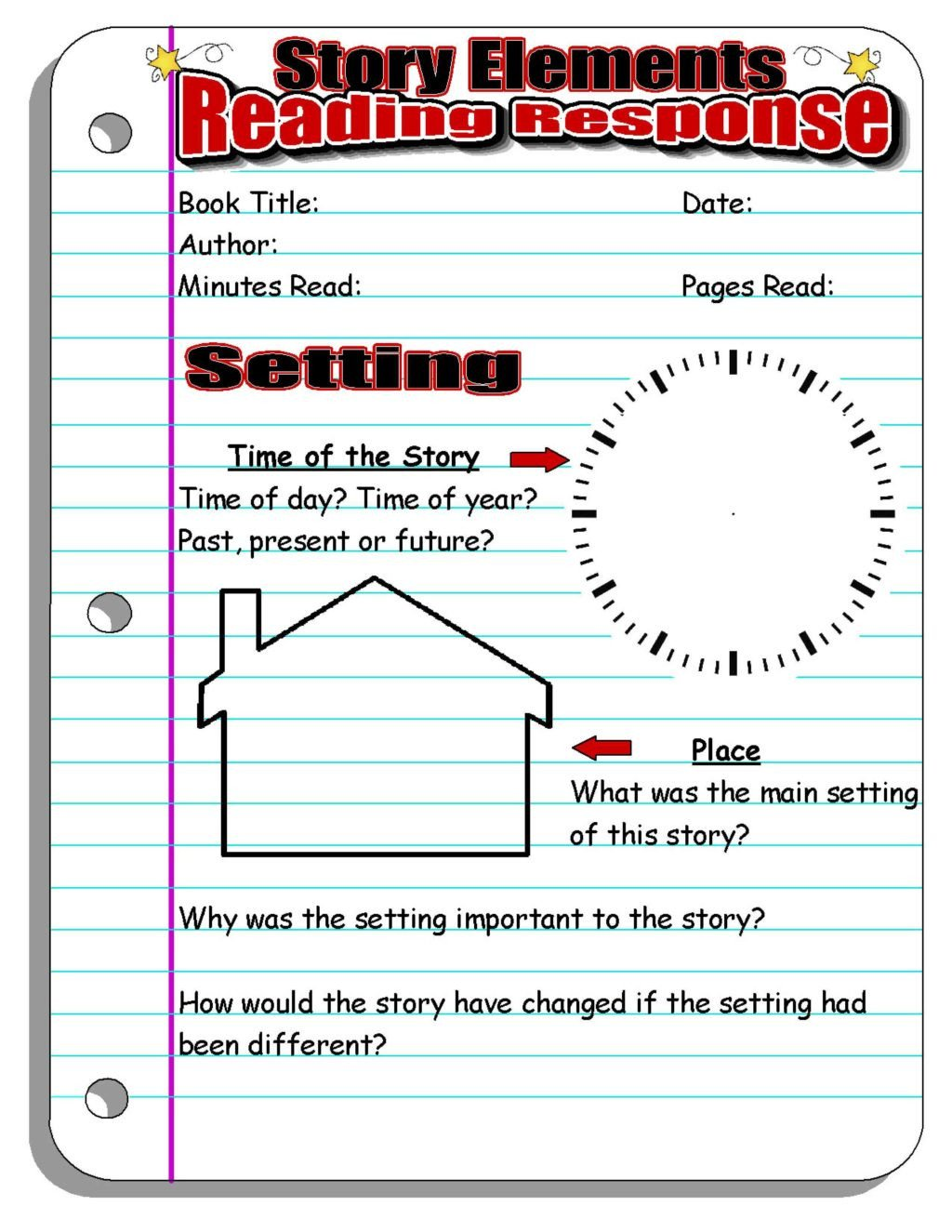 Story Elements Worksheets 2nd Grade Worksheet Instant Lesson Plans for Any Book Perfect