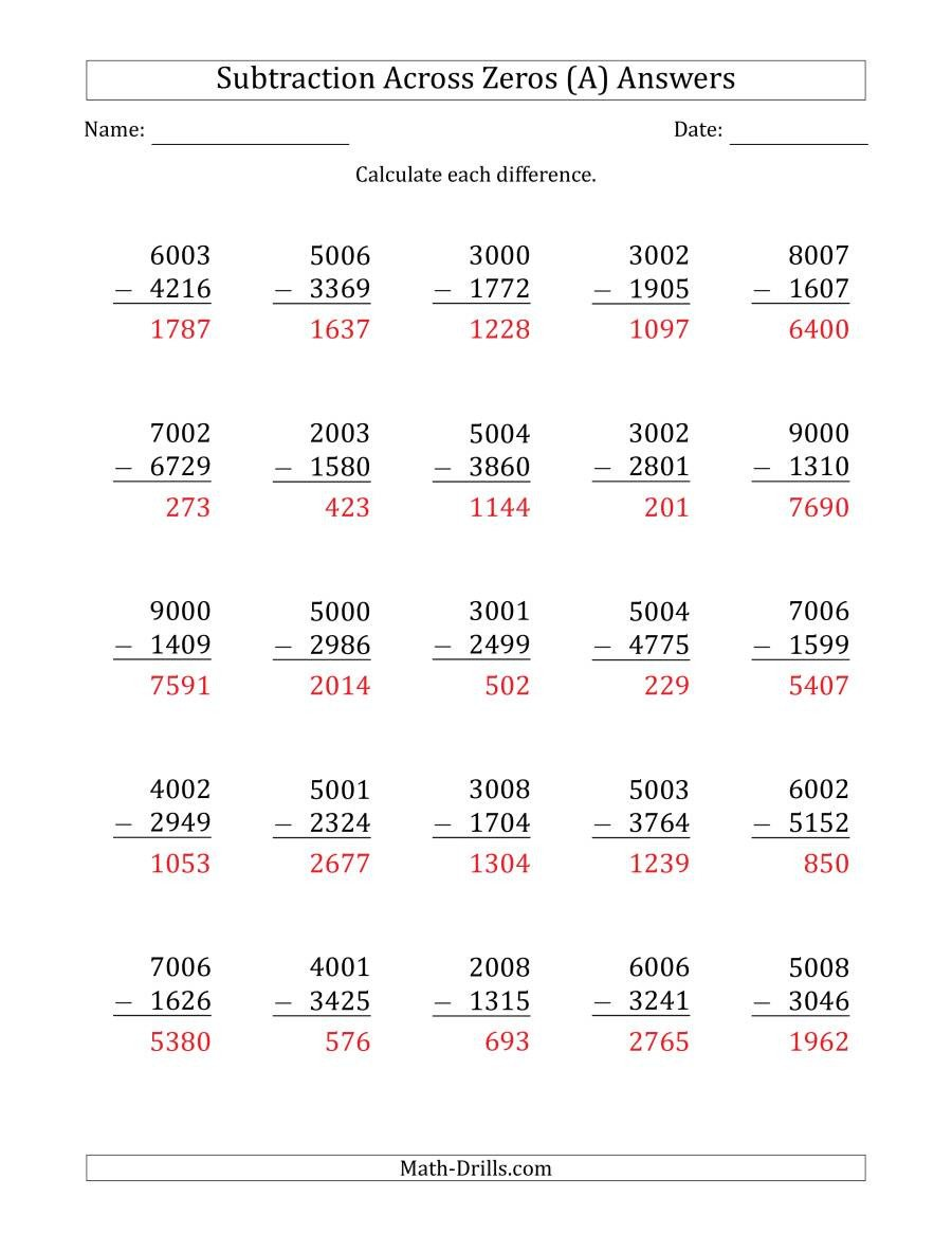 Subtracting Across Zeros Worksheet Pdf 4 Digit Subtracting Across Zeros In the Middle Es