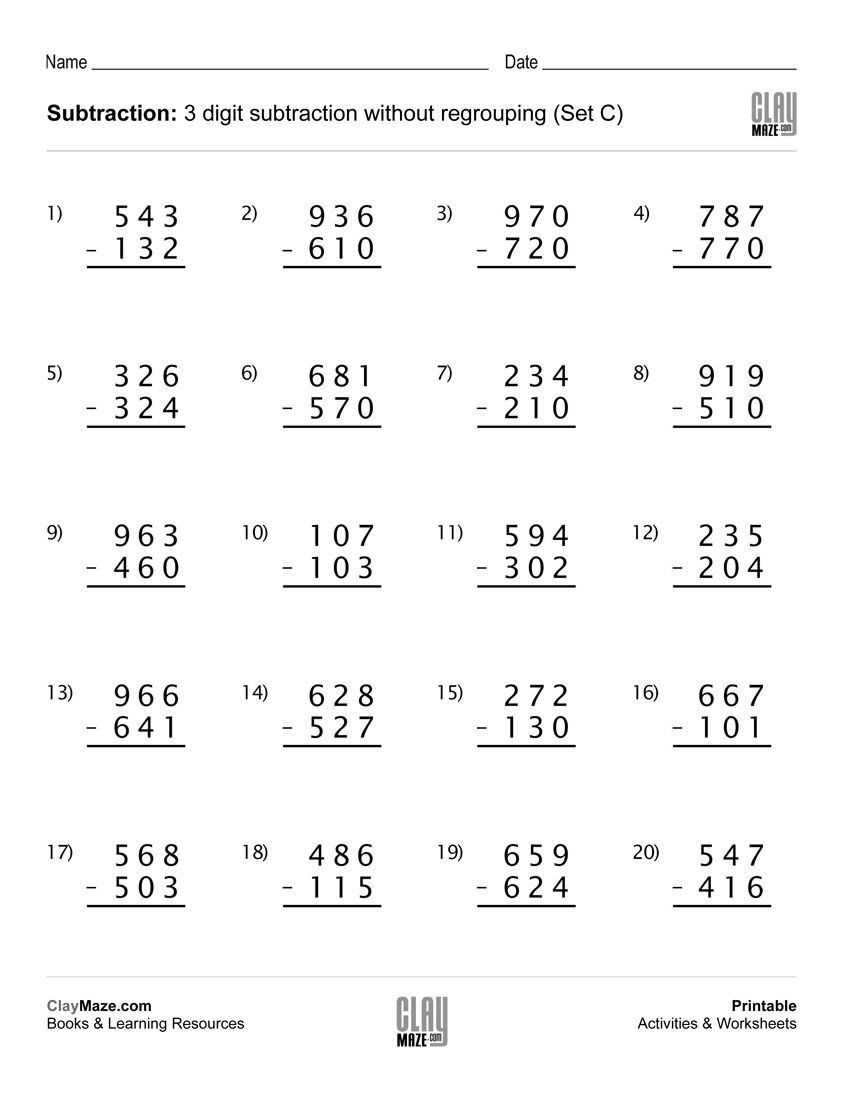 Subtracting Across Zeros Worksheet Pdf Math Worksheets Grade 3 Subtraction