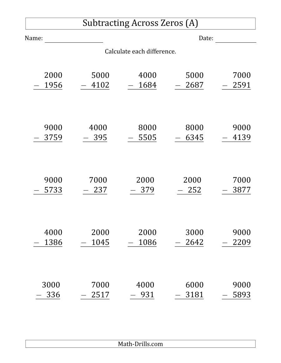 Subtracting Across Zeros Worksheet Pdf Subtracting Across Zeros From Multiples Of 1000 A