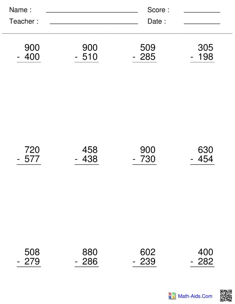 Subtracting Across Zeros Worksheet Pdf Subtracting Across Zeros Interactive Worksheet