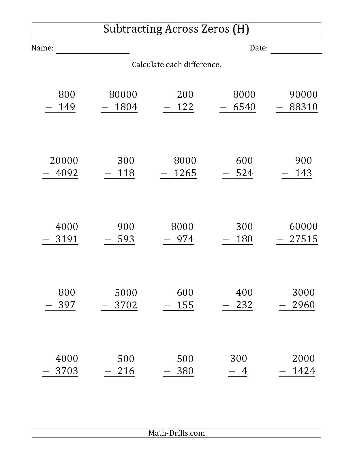 Subtracting Across Zeros Worksheet Pdf the Subtracting Across Zeros From Multiples Of 100 1000 and