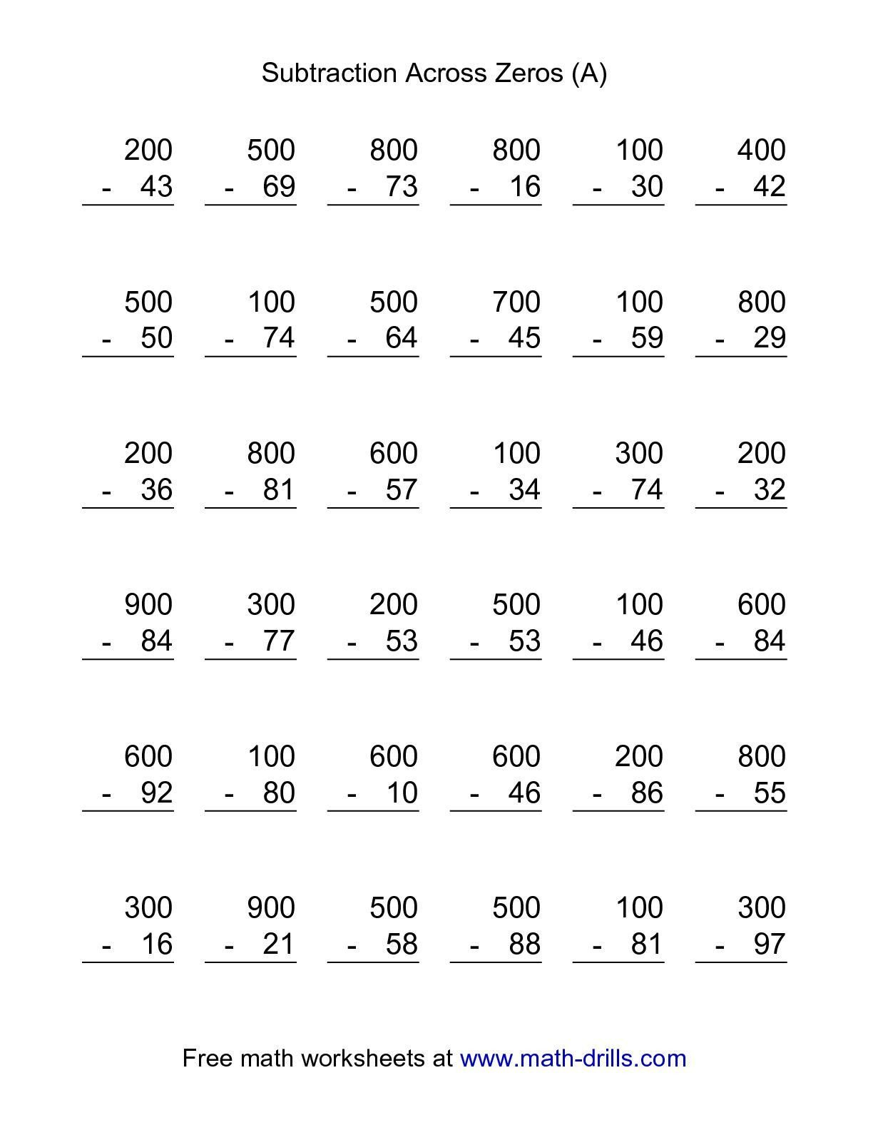 Subtracting Across Zeros Worksheet Pdf the Subtraction Across Zeros 36 Questions A Math