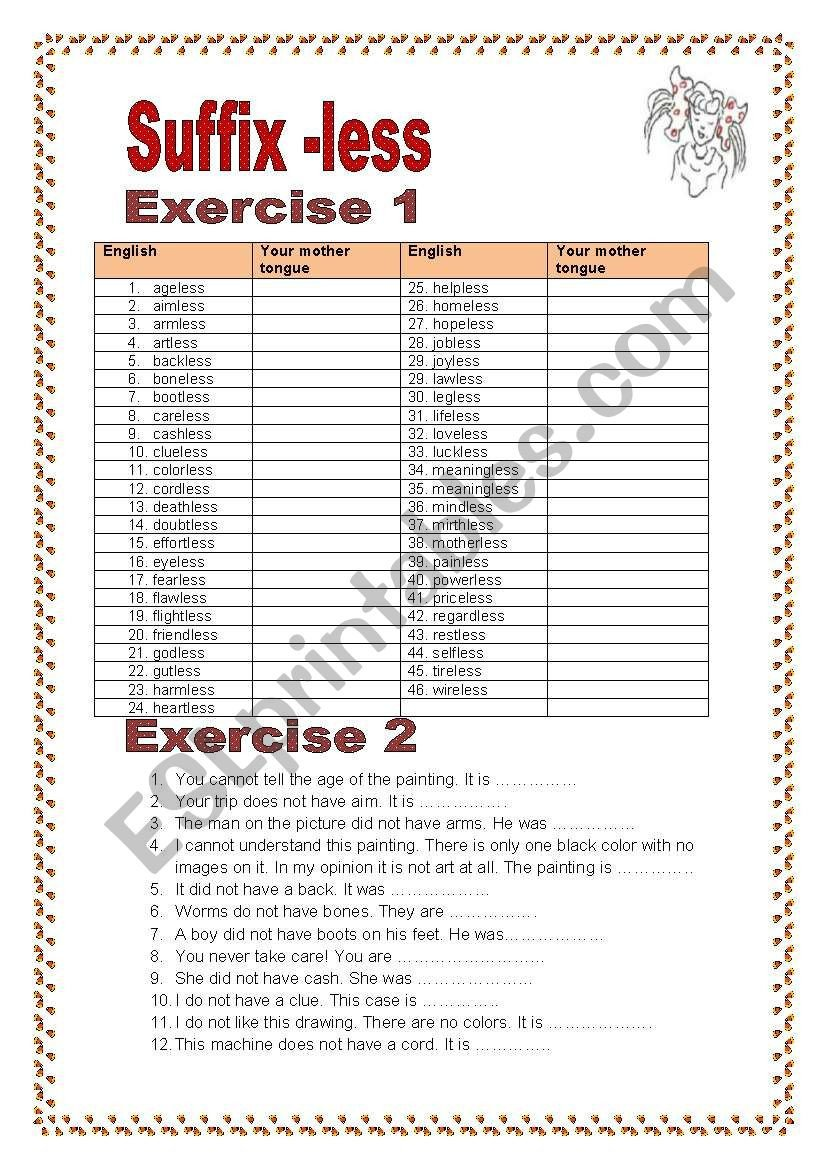Suffix less 3 pages 2 exercise