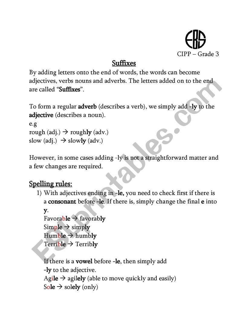 Suffix Ly Worksheets Suffix Ly Esl Worksheet by Nohaahmed