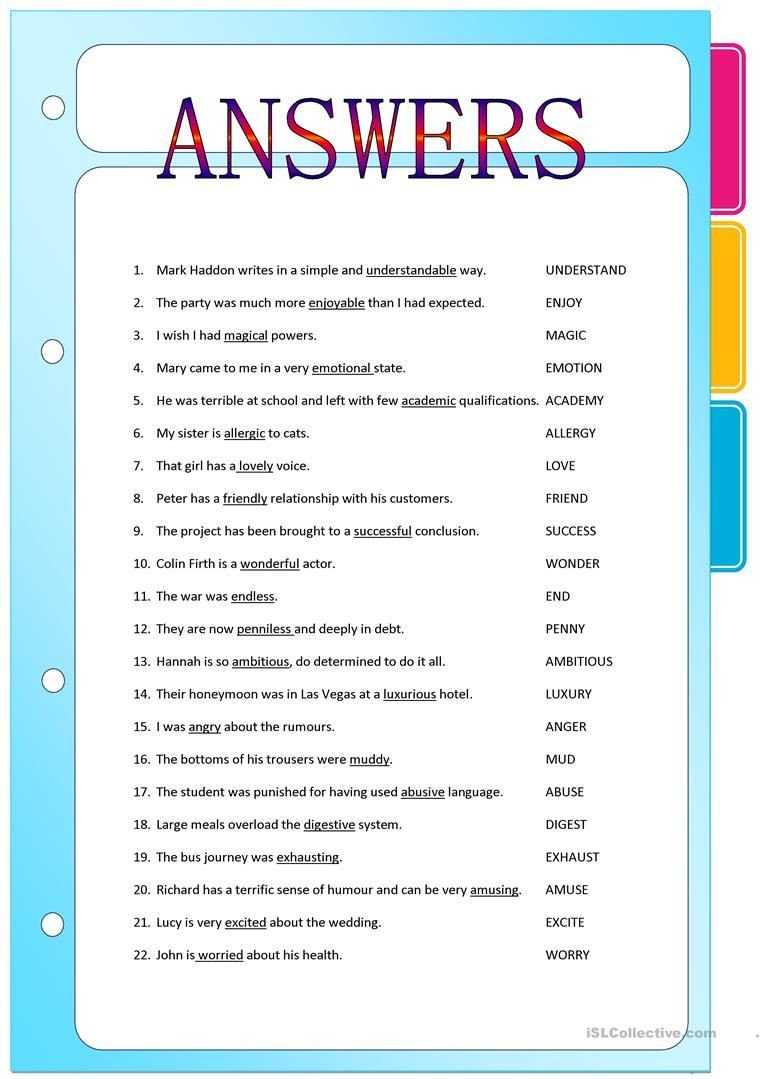 Suffix Ly Worksheets Suffixes Adjectives formed From Nouns and Verbs Worksheet