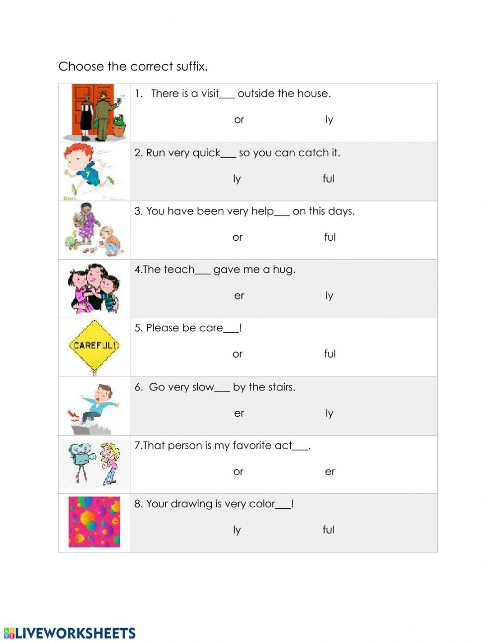 Suffixes Ly and Ful Worksheets Suffixes Er or Ly and Ful Interactive Worksheet
