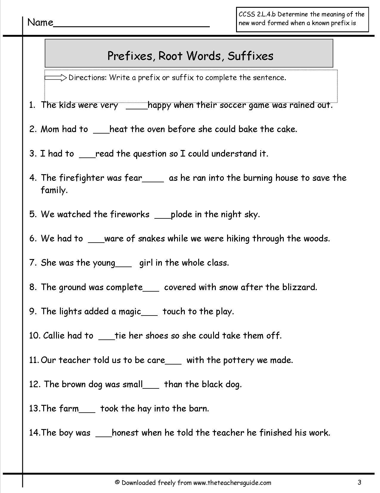 Suffixes Worksheet 3rd Grade 41 Innovative Prefix Worksheets for You S