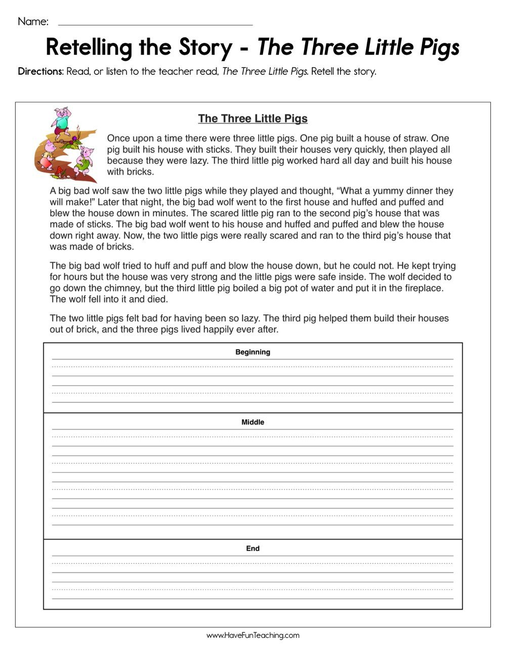 retelling the story the three little pigs worksheet