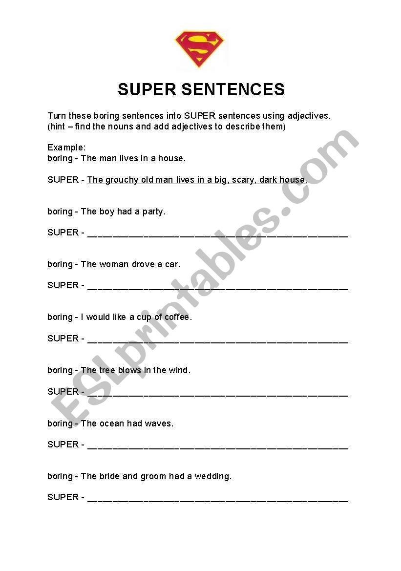 Super Sentences Worksheets English Worksheets Super Sentences