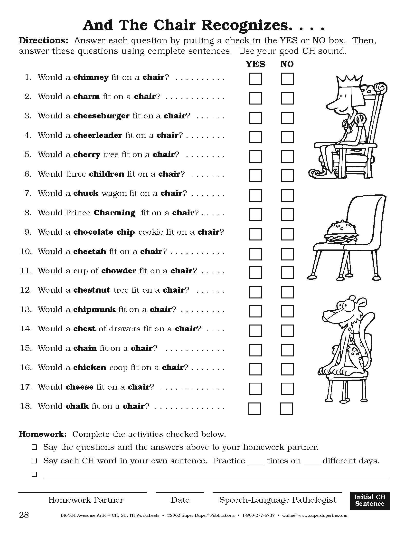 "Super Sentences Worksheets From Super Duper S ""awesome Artic Ch Sh Th Worksheets"