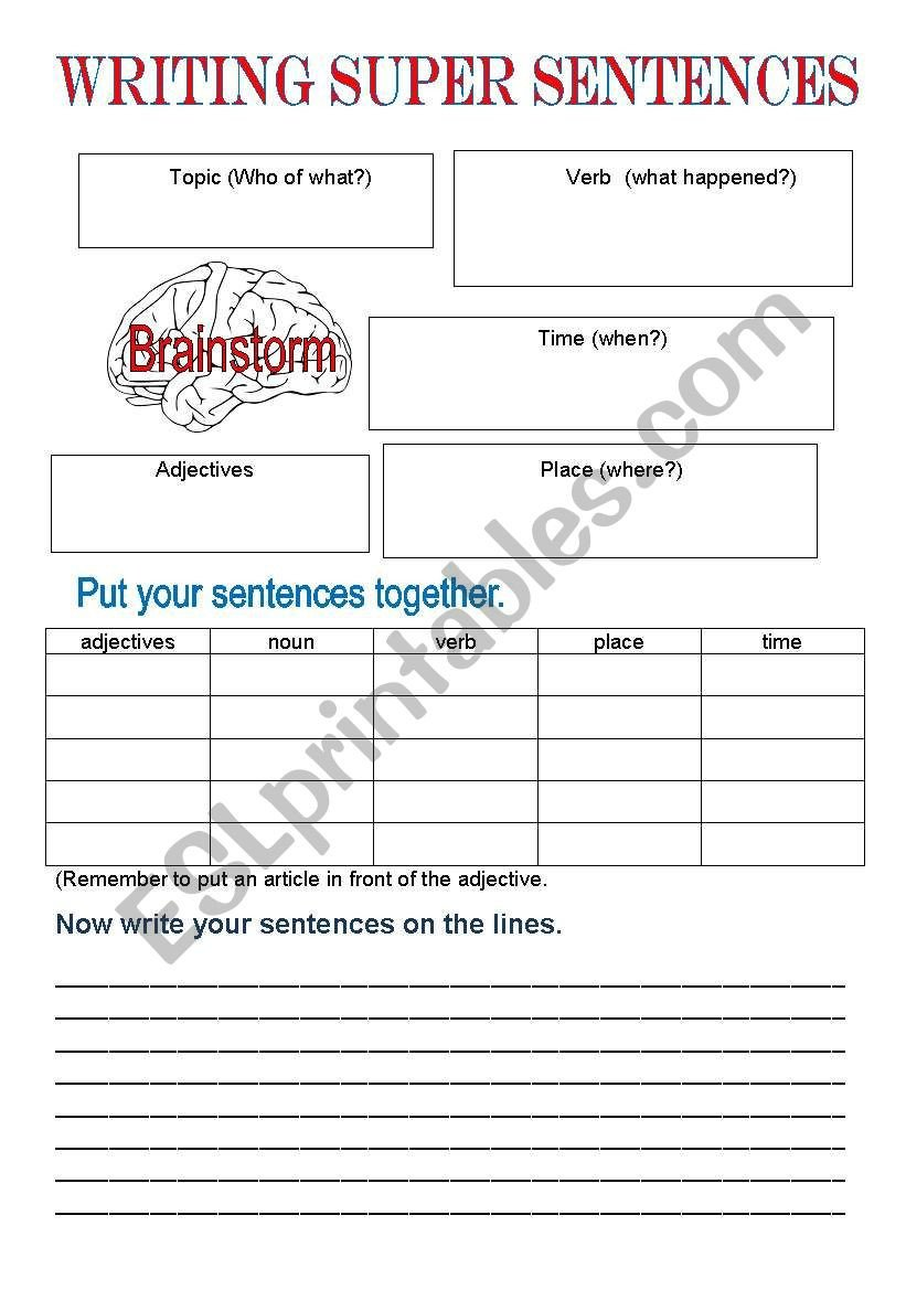 Super Sentences Worksheets Super Sentences Esl Worksheet by Cherryllama