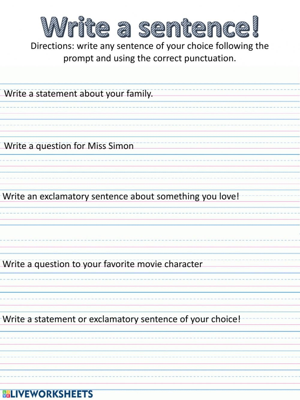 Super Sentences Worksheets Write A Sentence with Varied Punctuation Interactive Worksheet