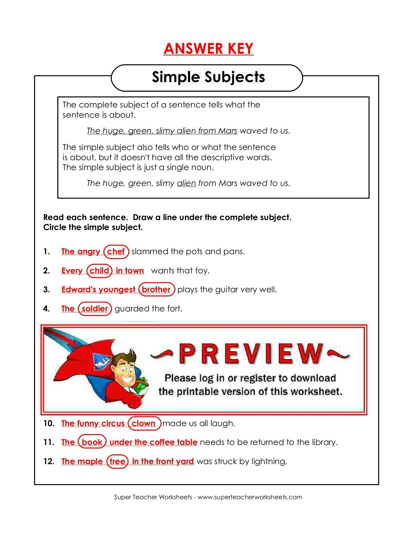 Super Teacher Worksheet Answers Simple Subjects Super Teacher Worksheets