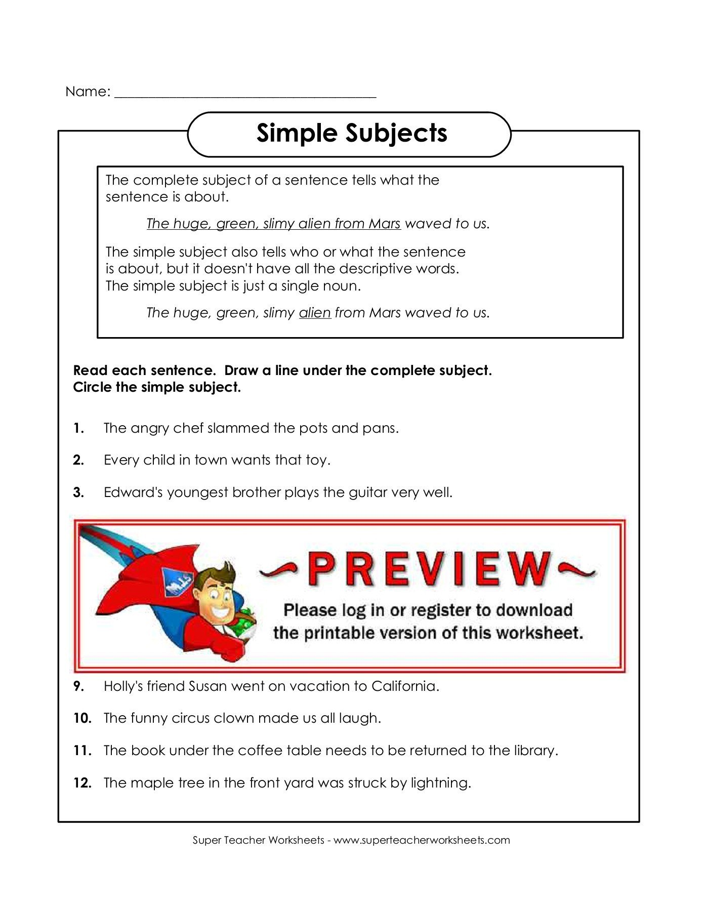 Super Teacher Worksheet Login Simple Subjects Super Teacher Worksheets