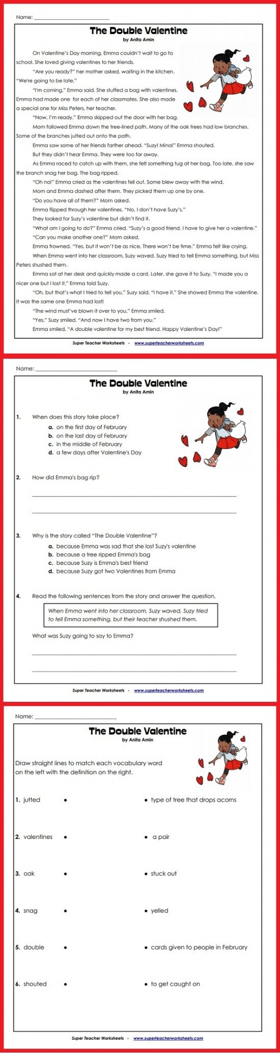Super Teacher Worksheet Login Valentine S Day Story