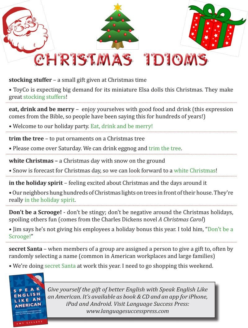 Super Teacher Worksheets Idioms Christmas Idioms to You In the Holiday Spirit
