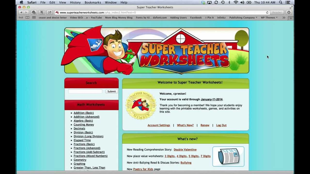 Super Teacher Worksheets Password 2016 Super Teacher Worksheets Ednak