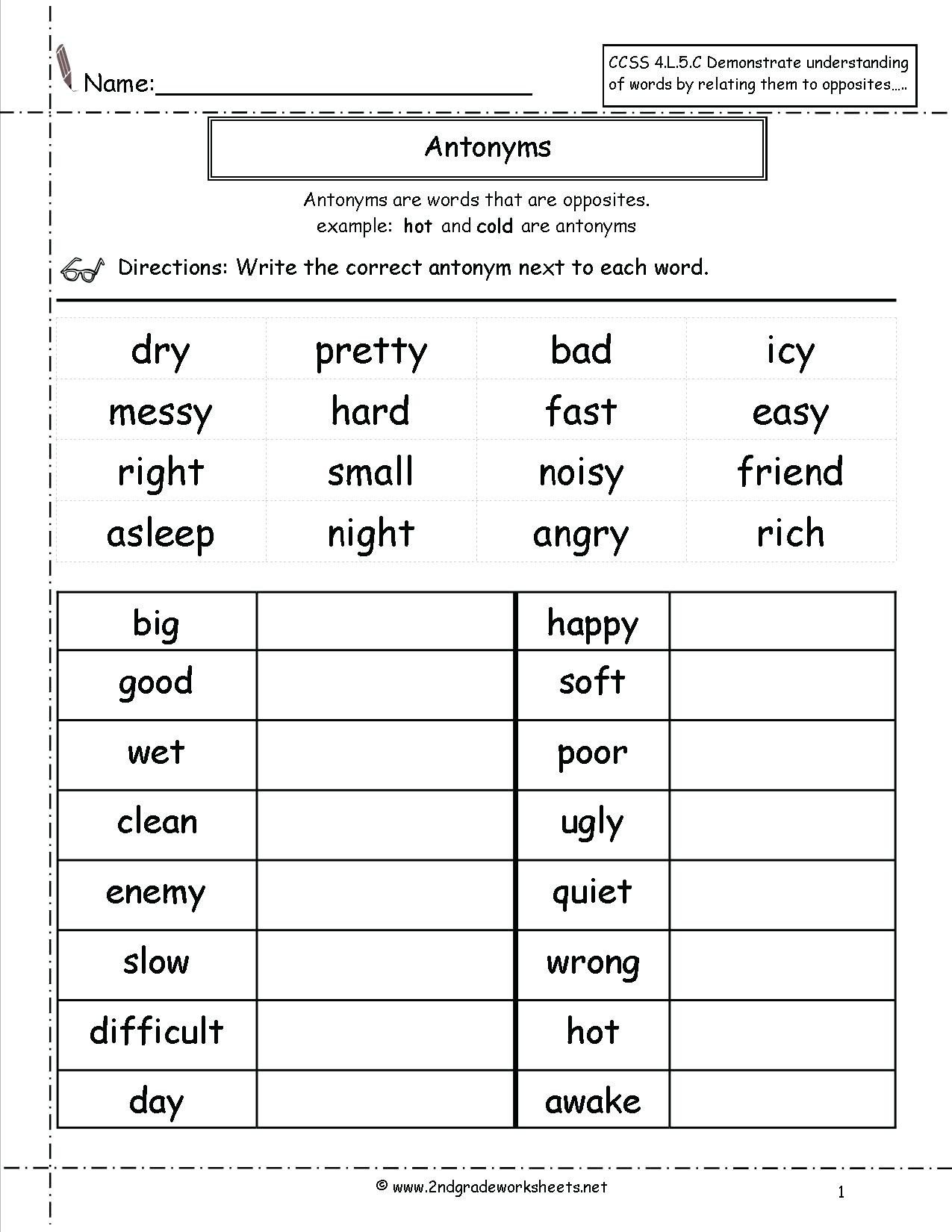 Synonyms Worksheet First Grade Antonyms for First Grade