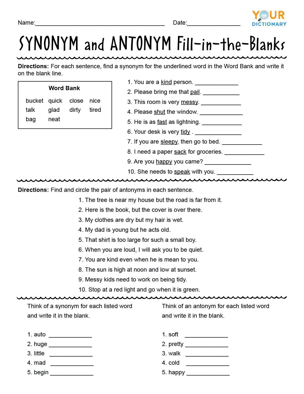 Synonyms Worksheet First Grade First Grade Synonyms and Antonyms Worksheets