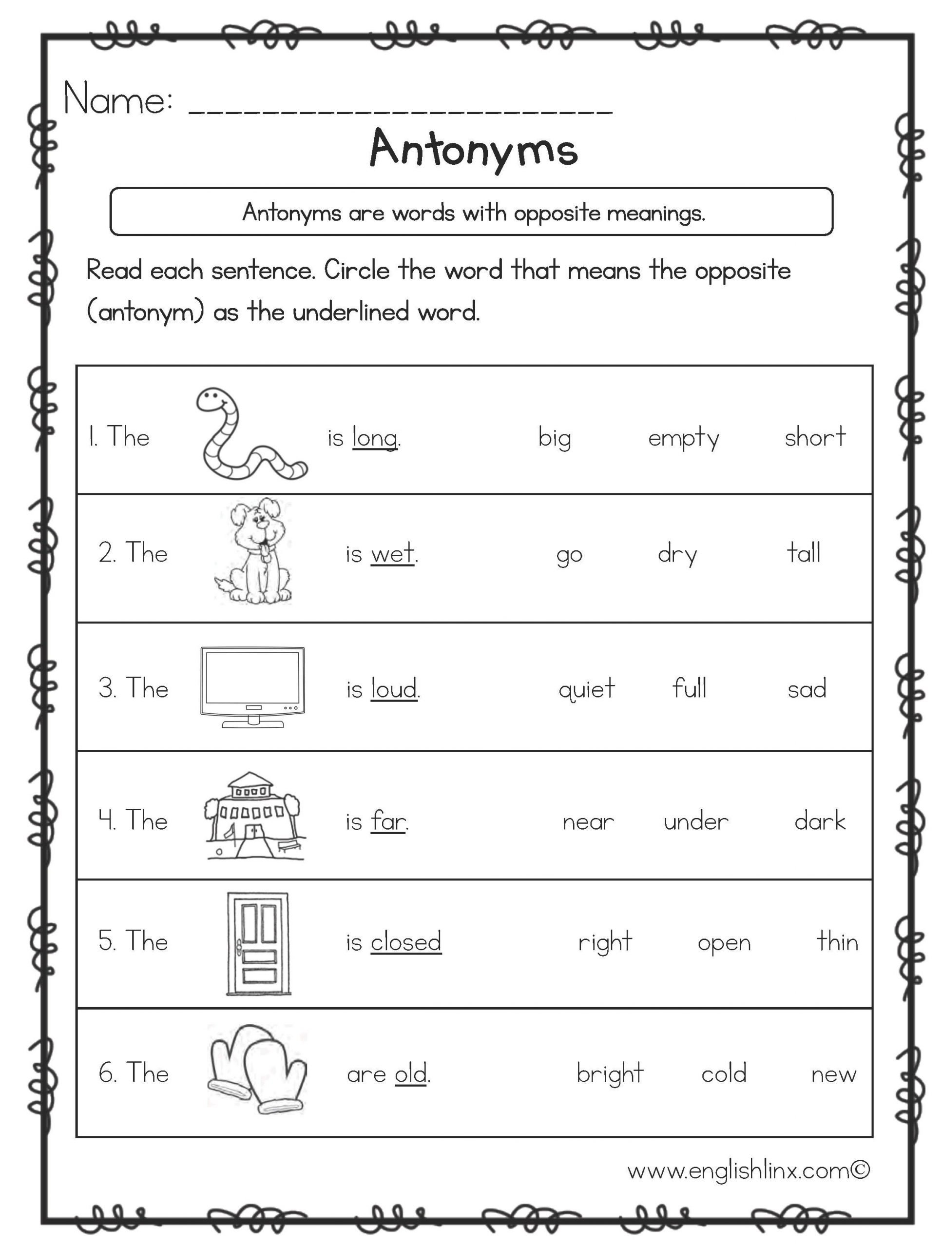 Synonyms Worksheet First Grade Free First Grade English Worksheets 1st Grade
