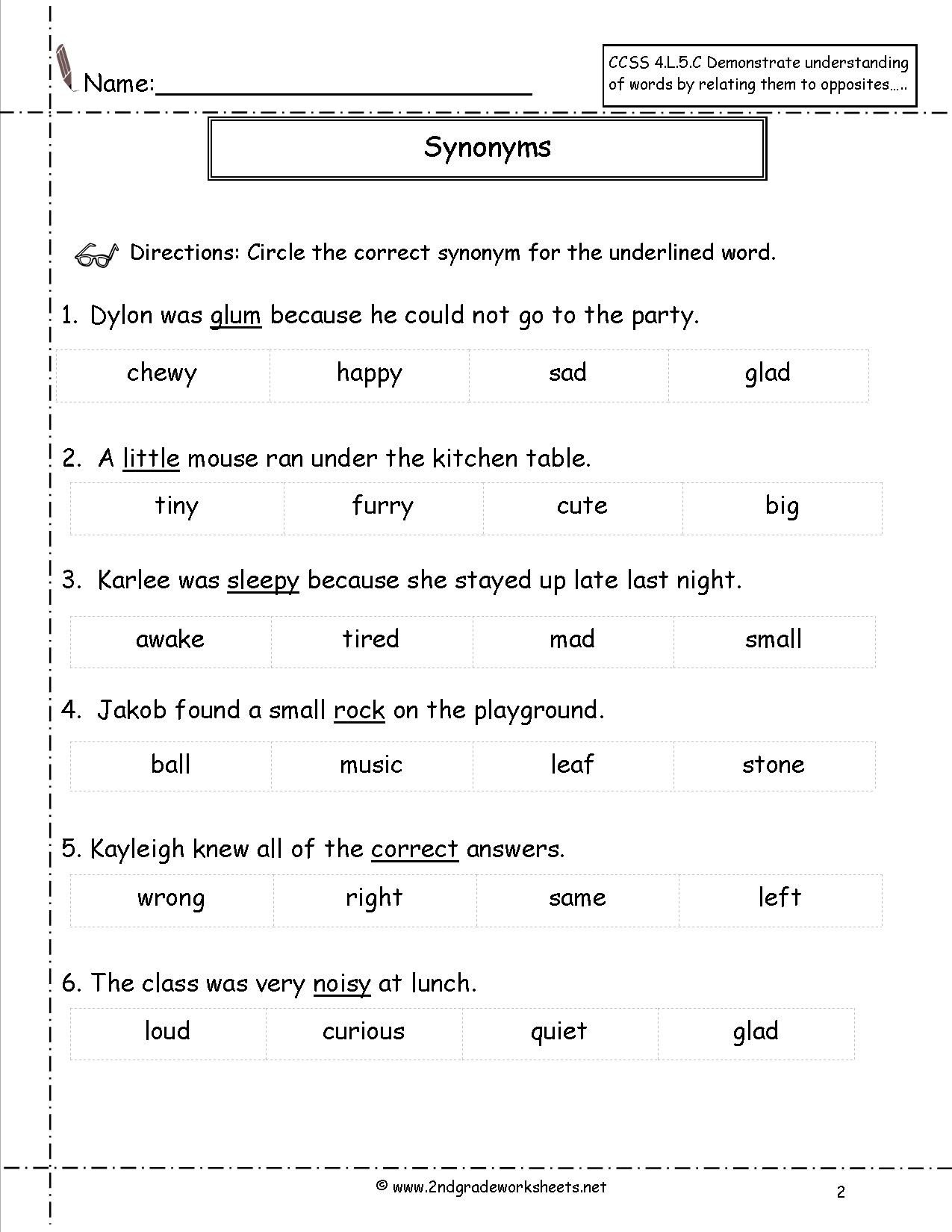 Synonyms Worksheet First Grade Free Synonym Worksheet