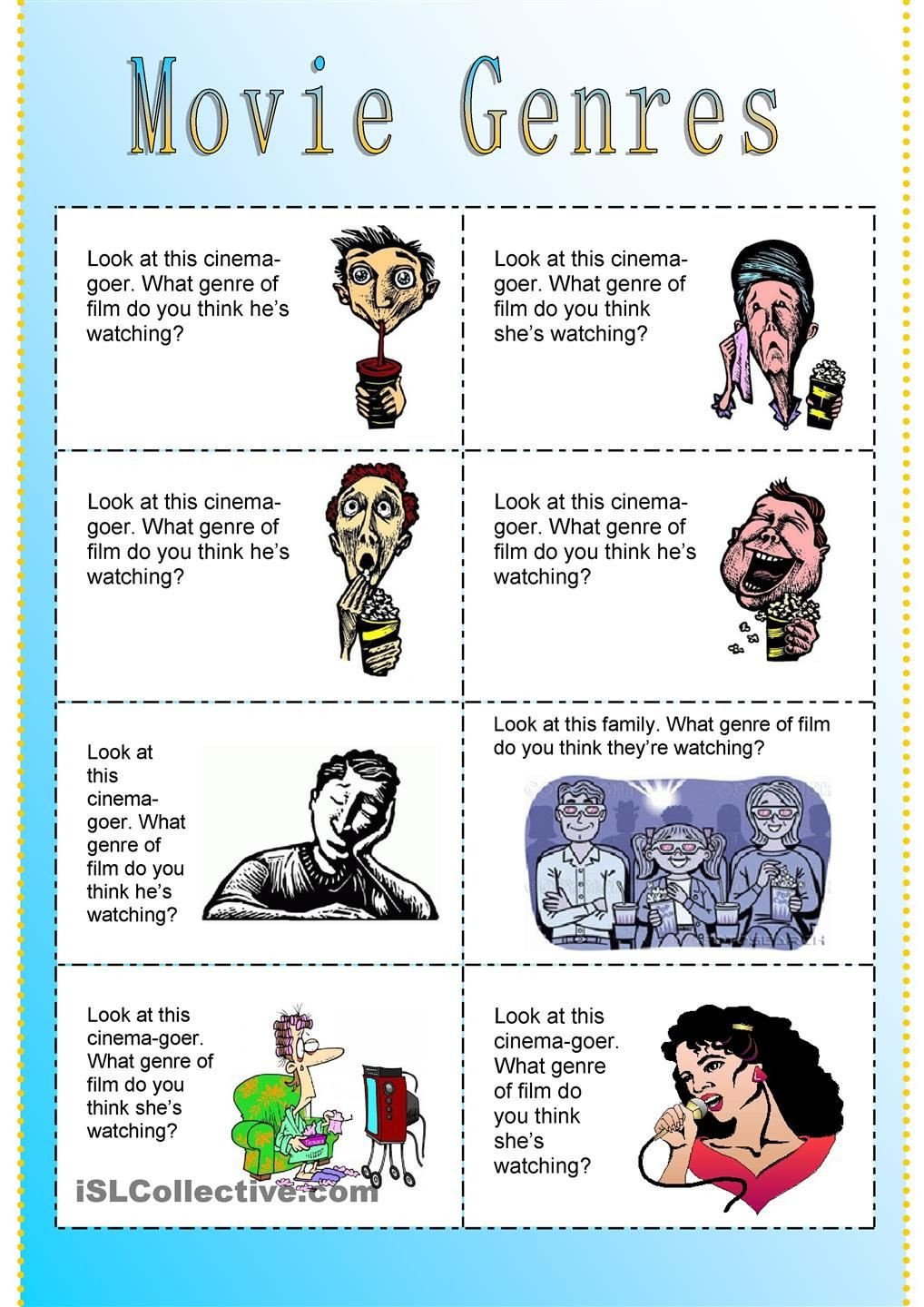 Teaching Genre Worksheets Fun Movie Genres Cards