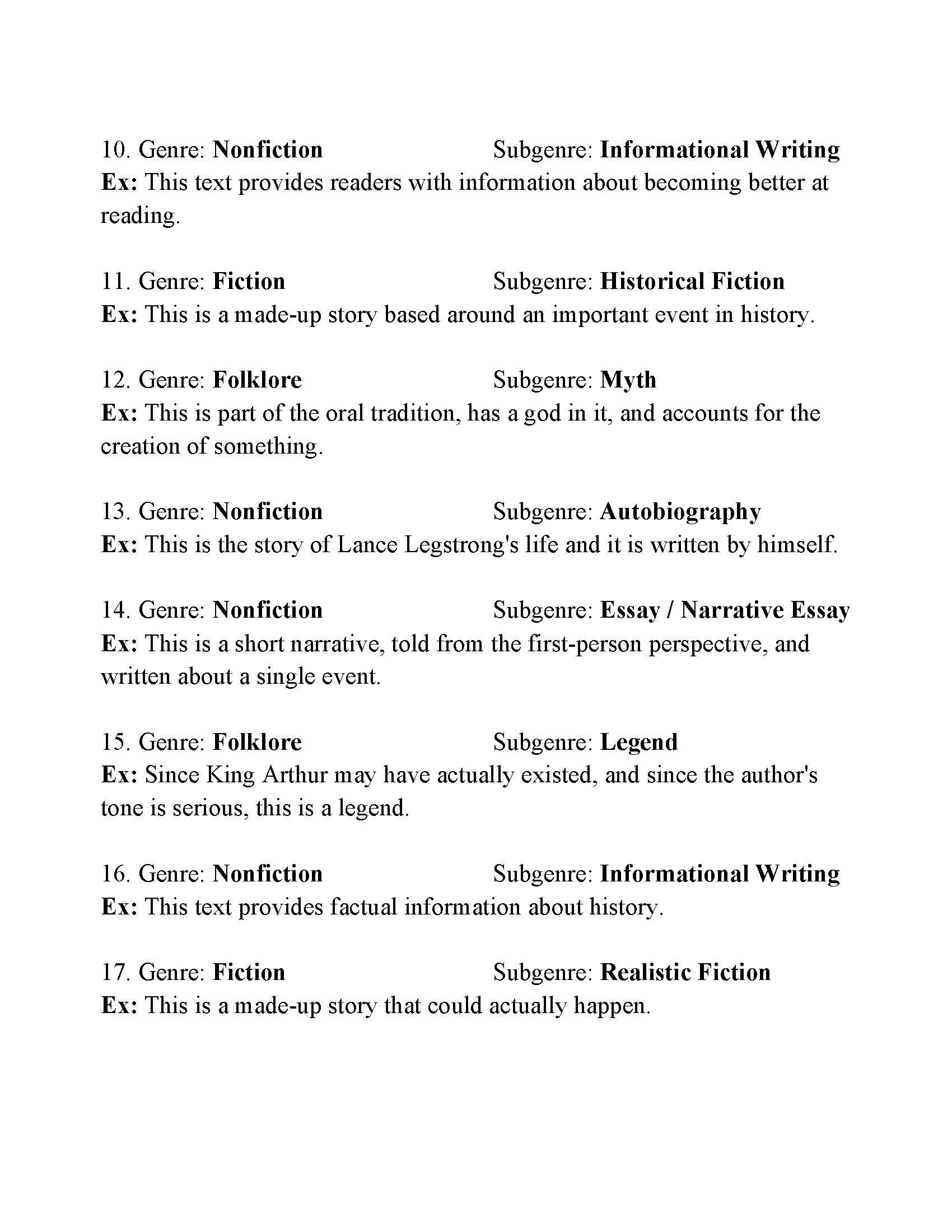 Teaching Genre Worksheets Genre Worksheet 2