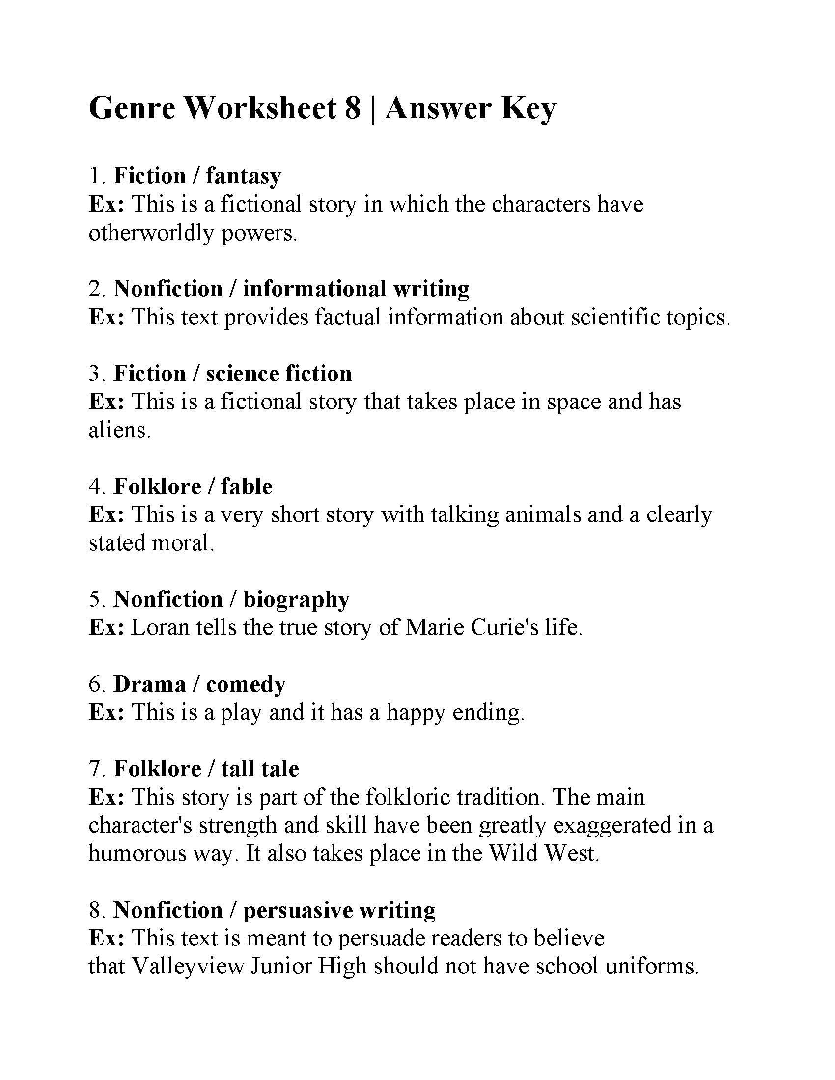 Teaching Genre Worksheets Genre Worksheet Answers Science Fiction Worksheets High