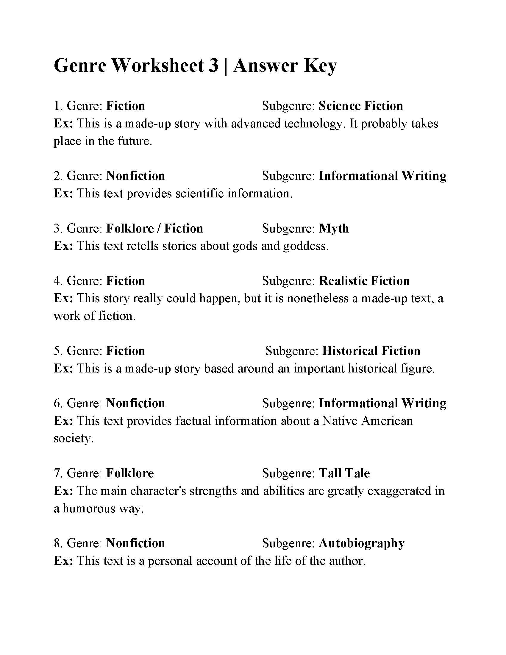 Teaching Genre Worksheets Genres Literature Worksheets